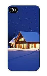 8bf225a2148 Holidays Christmas Seasonal Winter Snow Night Lights Seasons Seasonal Stars Nature Sky Trees Tracks Path Protective Case Cover Skin/iphone 5/5s Case Cover Appearance