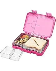 Navaris bentobox - Lunchbox met 4 tot 6 compartimenten - Broodtrommel met variabele vakjes - Voor lunch en tussendoortjes op school en werk - Roze