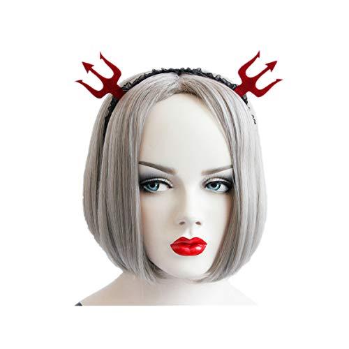 WINZIK 2 Pcs Halloween Hair Hoop Headwear Hairband Accessories Cosplay Party Props for Women Girls (Devil Fork) -