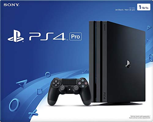 Consola PlayStation 4 Pro con un controlador de doble descarga y cable HDMI, capacidad de transmisión de video 4K para hasta 4 jugadores - Jet Black