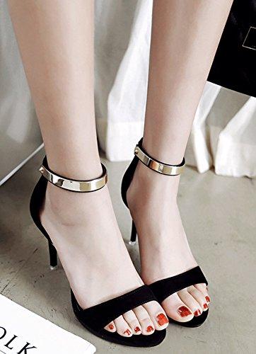 Aisun Women's Dressy Zipper High Stilettos Sandals Shoes Black e4Ed0Bj