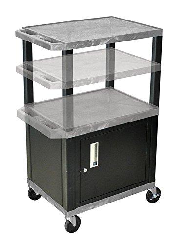 H.Wilson WT2642GYC2E-B Adjustable Height 3 Shelves Gray Tuffy Audio Visual Cart with Cabinet Black Legs