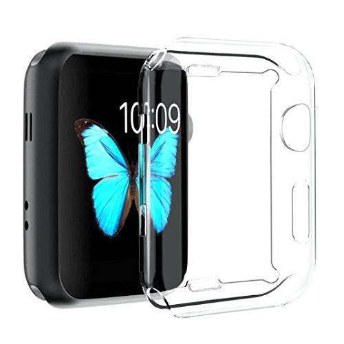 for iWatch Clear Protector Case HP95(TM) Soft Ultra-Slim Clear Full Cover TPU Case Frame For Apple Watch Series 2/3 42mm & 38mm-360 Degree Full Protection (For iWatch Series 2/3 42mm) by HP95 (Image #6)