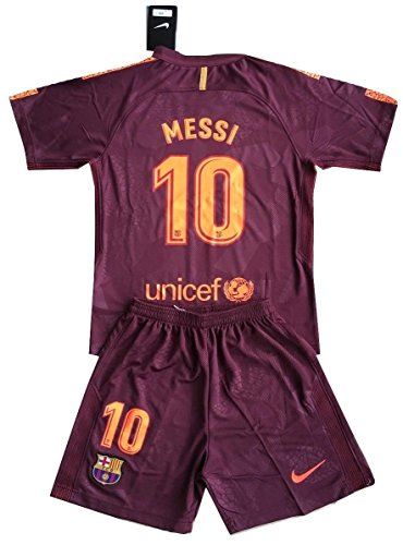 Tamarra-Nikollova Messi #10 FC Barcelona 2017-2018 Champions League Youths Soccer Jersey & Shorts (9-10 Years Old)