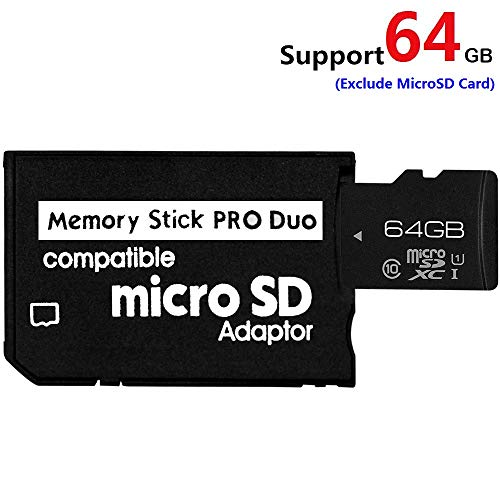 Lxctech Memory Stick Adapter, MicroSD MicroSDHC to MS PRO Duo Adapter for Sony PSP Camera and Others, Support Max 64GB Micro SD Card (Black (1 Slot))