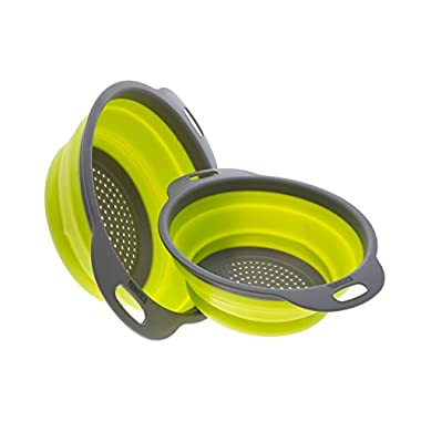 Colander Set - 2 Collapsible Colanders (Strainers) Set By Comfify - Includes 2 Folding Silicone Strainers Sizes 8  - 2 Quart and 9.5  - 3 Quart Green and Grey