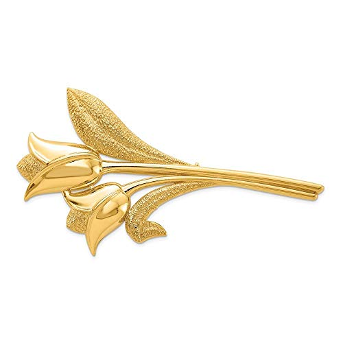 14K Yellow Gold Diamond-cut Polished and Satin Filigree Heart Pin Brooch