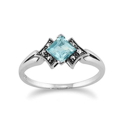 Deco Ring Sterling Art (Gemondo Marcasite Ring, 925 Sterling Silver Art Deco Topaz & Marcasite Ring)