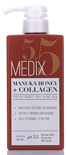 41GjV8XvhML - Medix 5.5 Manuka Honey Cream with Collagen and Green Tea Extracts. Anti-aging Cream for face and body, moisturizes, restores and nourishes skin. Large 15oz (444 mL) bottle with pump
