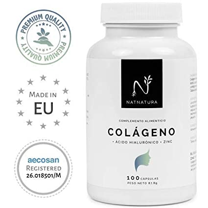 Colágeno hidrolizado. Colágeno con ácido hialurónico + Vitamina C + Zinc. Nº1 en Colágeno. Piel sana, articulaciones fuertes. 100 cápsulas con ...