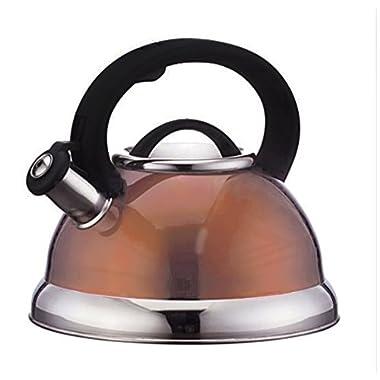 Stainless Steel Whistling Tea Kettle or Tea Maker w/ Encapsulated Base 2.8 Liter (Copper)