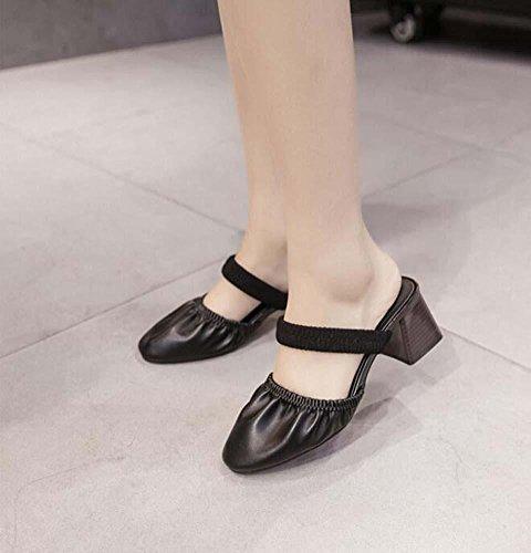 Zapatillas 5cm Tacones gruesos Zapatillas Cool Mary Jane Banda elástica Slingback Sandalias Zapatos casuales Zapatos De Vestir Mujer Retro Cómodo Dedo del pie cuadrado Banda elástica Mediados de tacón Black