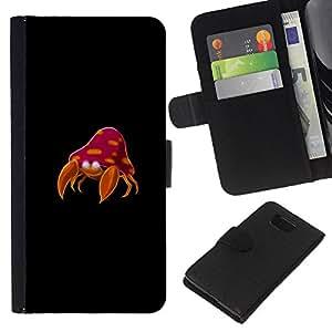 KLONGSHOP // Tirón de la caja Cartera de cuero con ranuras para tarjetas - Meter Cangrejo Monstruo - Samsung ALPHA G850 //