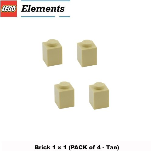 Lego Parts: Brick 1 x 1 (PACK of 4 - Tan) (Imperial Hotel 21017)