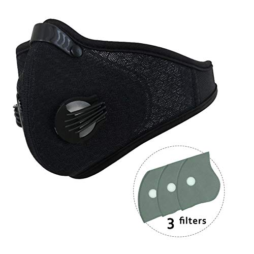 Activated Carbon Dustproof Dust Mask, 2 Valves Anti Pollution Mask with Extra 3 N95 Filters Cotton Sheet Respirator for Exhaust Gas, Pollen Allergy, PM2.5, Running Cycling Woodworking Outdoor (Black)