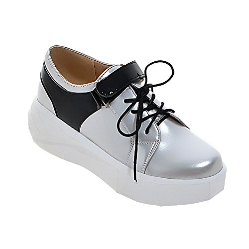 Mee Shoes Damen Klettband Lackleder Durchgängiges Plateau Pumps Silber