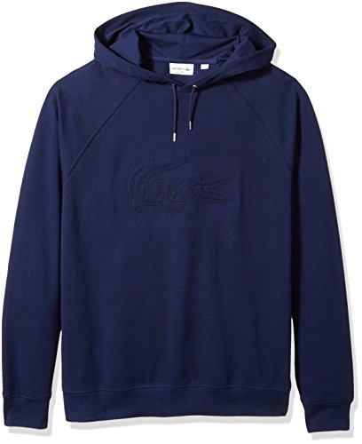 Blue Embroidered Hooded Sweatshirt - Lacoste Men's Long Sleeve Embroidered Hoodie Sweatshirt, SH6781, Navy Blue, 4X-Large