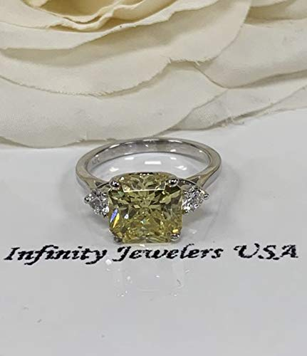 Radiant cut canary yellow engagement ring, with round accents Canary Diamond Engagement Ring