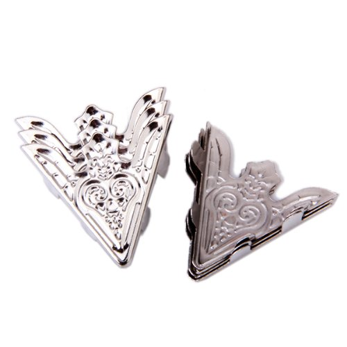 6pcs Shirt Blouse Pointed Collar Clips Metal Wing Tips, Silver 3.5cm