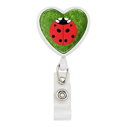 Lady Bug Ladybug Insect Heart Lanyard Retractable Reel Badge ID Card Holder - White