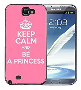 Samsung Galaxy Note 2 Black Rubber Silicone Case - Keep Calm and Be a Princess by lolosakes