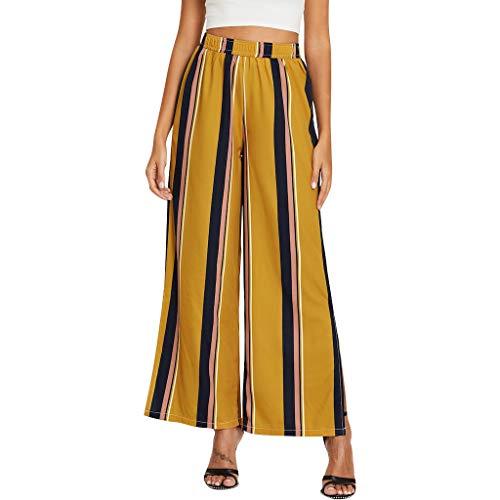 Botrong Women Striped Casual Leggings Pants Wide Leg Pants Trousers Yellow