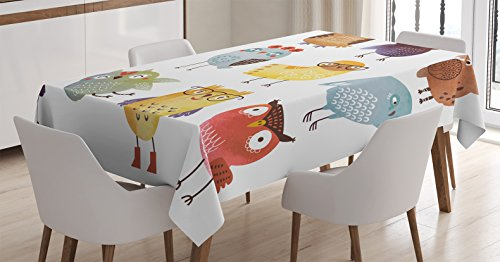 Ambesonne Funny Decor Tablecloth, Retro Hipster Bohemian Owls Birds Pattern Modern Fashion with Floral Fun Costumes Boho Decor , Rectangular Table Cover for Dining Room Kitchen, 52x70 Inches, (Retro Beach Party Costumes)