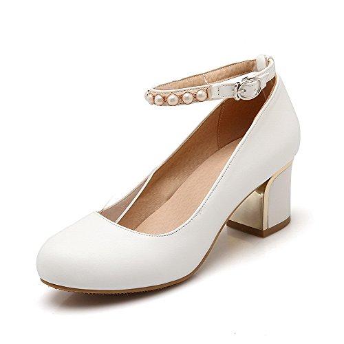 VogueZone009 Damen Rund Zehe Schnalle PU Leder Leder Leder Eingelegt Mittler Absatz Pumps Schuhe Weiß 4f41be