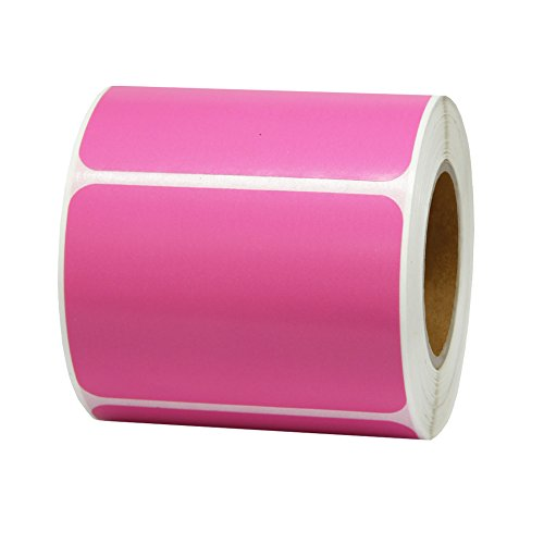 Hcode 2x3 Inches Blank Thermal Transfer Label Printable Blank Shipping Labels Rectangular Adhesive and Writable Sticker 400 Pieces Per Roll (1 roll, pink)