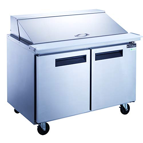Dukers DSP48-18M-S2 11.4 cu. ft. 2-Door Commercial Food Prep Table Refrigerator with Mega Top