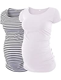 Womens Mama Maternity Tunic Tops Side Ruched T-Shirt...