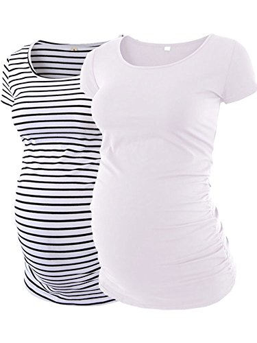 Maternity T-shirt Pregnancy (AnnAnn Womens Motherhood Maternity Side Ruched Tunic Tops Scoop Neck T-Shirt Short Sleeve Mama Pregnancy Clothes White White Black stripe Large)