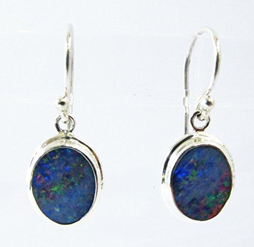 Sterling Australian Opal Doublet - handmade 925 sterling silver dangle drop AAA fire doublet opal earrings, silver earring with opal, genuine opal earrings, australian opal earrings, 2,7 cm drop length