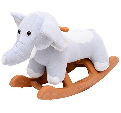 Homcom Jouet à Bascule Cheval à Bascule modèle éléphant 61L x 31l x 42H cm Gris
