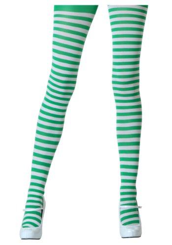 Leg Avenue Women's Nylon Striped Tights, White/Kelly Green, One Size