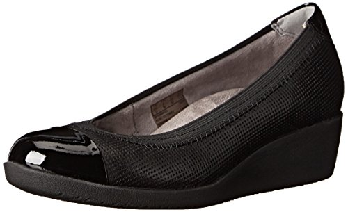 CLARKS Damen Petula Sadie Synthetic Wedge Schwarzes Leder Combo
