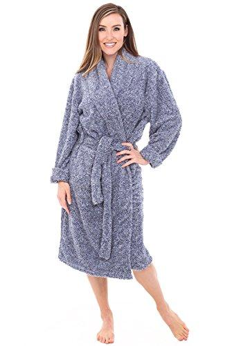 - Alexander Del Rossa Womens Fleece Robe, Plush Microfiber Bathrobe, Small Medium Two Tone Blue (A0302CBLMD)