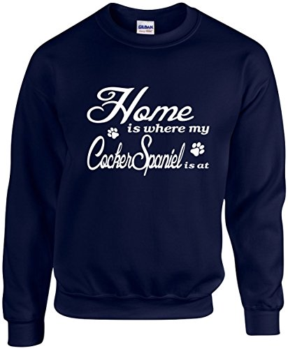 Unisex Funny Crewneck Size 2X (Home is where my Cocker Spaniel is) ()