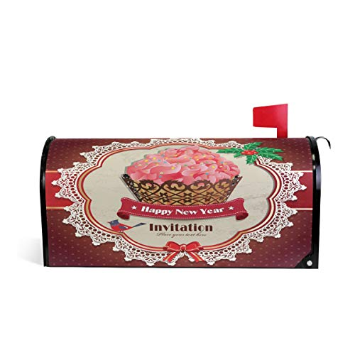ALAZA Christmas Birds Holly Leafs Cupcake Magnetic Mailbox Cover Oversized-25.5