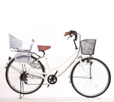 Lupinusルピナス 自転車 26インチ LP-266UD-KNR-S 軽快車 後子乗せシルバー 開店祝い ダイナモライト シマノ外装6段ギア ホワイト 期間限定特価品 B073LPPN22