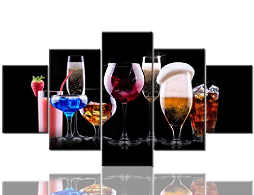 5 Piece Canvas Wall Art for Dinning Room Beer Wine and Cocktail Paintings Giclee Home Decor Contemporary Artwork Blue Red Glass Pictures Wooden Framed Ready to Hang Posters and Prints(60''Wx32''H)