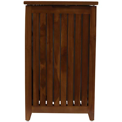 Redmon Teak Collection Apartment Hamper with Laundry Bag