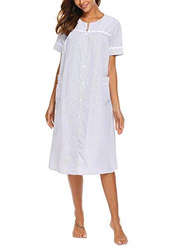 Old Navy Button Front Shirt (Dorani Womens Sleeveless Nightshirt Victorian Sleepwear Chemise (Navy Blue, Large))