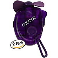 O2COOL Small Carabiner Keychain Misting Fan, Purple, 2 Units