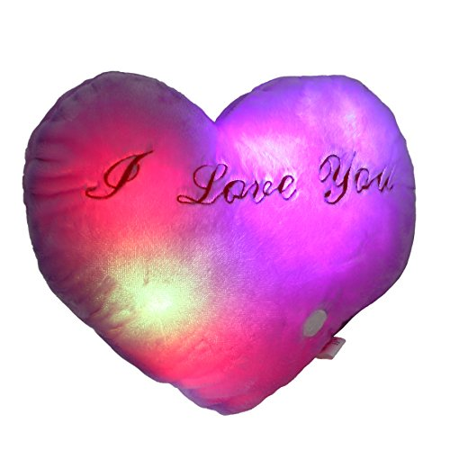(Houwsbaby LED Heart Pillow Glowing at Night with Embroidery I Love You Words for Mother's Day Valentine's Day, 14 inch (Purple))