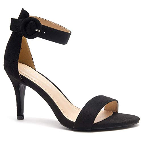 Herstyle Ambrosia Women's Open Toe High Heels Dress Wedding Party Elegant Heeled Sandals Black 8.5