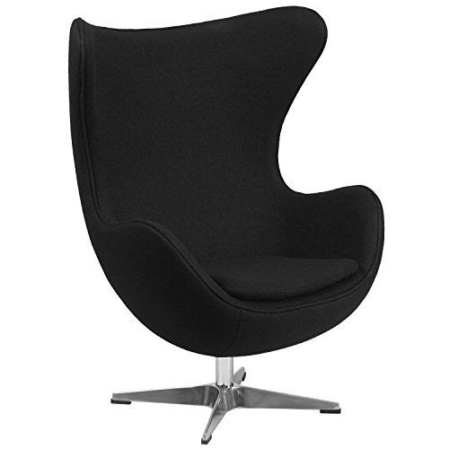 Flash Furniture Black Wool Fabric Egg Chair with Tilt-Lock Mechanism