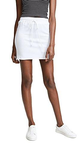 Terry Skirt Drawstring (Lanston Women's Drawstring Mini Skirt, White, X-Small)