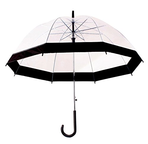 HappyGo Full Automatic Transparent Clear Travel Beach Umbrella for Women Girls Black
