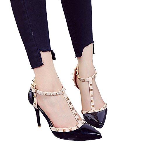 Talons pointus noirs de 9cm avec des talons hauts, rivets évidés chaussures rouges de boucle, chaussures peu profondes de bouche ( Couleur : Black9cm , taille : 40 ) Black9cm